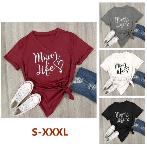 Casual Mom Life Heart Letter Printed V-Neck T-Shirt Short Sleeve Top Blouse Casual Shirt