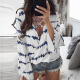 ByChicStyle Casual Women Loose Long Sleeve Printed Tops Chiffon Casual Blouse Amazing Good