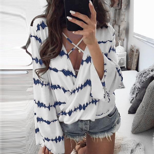 Casual Women Loose Long Sleeve Printed Tops Chiffon Casual Blouse Amazing Good