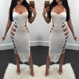 ByChicStyle White Cut Out Irregular Backless Spaghetti Strap Side Slit Bodycon Midi Dress
