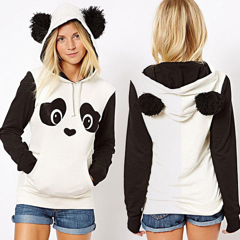Women Cute Panda Thin or Thick Warm Hoodie Pullover Hooded Coat Jacket Sweatshirt