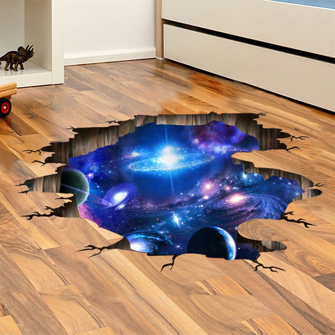 Blue Sky/Cartoon /Universe Galaxy 3D Wall Stickers PVC Material Decals DIY Removable Home Decor for Kids Rooms Ceiling Wallpaper