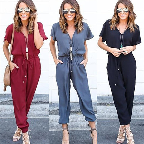 Women's Summer Chiffon V-neck Jumpsuit Sexy Short Sleeve Casual Solid Color Rompers