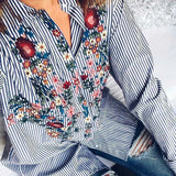 ByChicStyle Casual Women Floral Embroidered Casual Blouse Autumn Long Sleeve Striped Shirt Tops