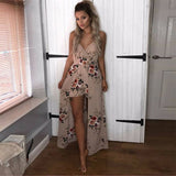 ByChicStyle Casual Slit Bohemia Maxi Long Dress Womens Printed Rose Boho Beach Shorts Party Evening