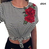 ByChicStyle Women Short Sleeve Crew Neck Striped Embroidered Rose T-shirt Tee Blouse Tops Vest