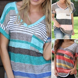 ByChicStyle Women Stripes Printed T-shirt V-neck Loose Casual Short Sleeve Summer Plus Size Tops