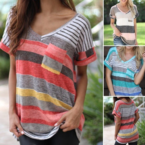 Women Stripes Printed T-shirt V-neck Loose Casual Short Sleeve Summer Plus Size Tops