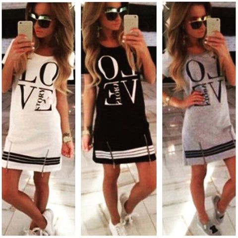 Casual Women Love Printed Short Sleeve Mini Dress  Loose Tops Club Party Sexy Dress