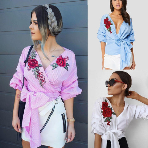 Casual Fashion Womens Summer Embroidered Shirt Casual Blouse Loose Cotton Tops T Shirt