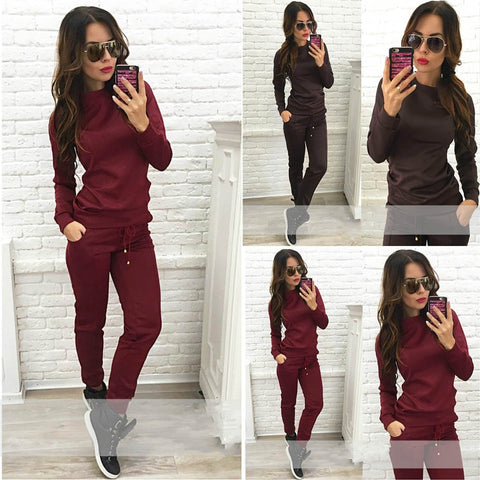 Women New Sports Suits Woman Sportwear Suit Tracksuits T-shirt 2 Pcs Set Casual Sweatshirt