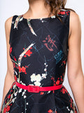 ByChicStyle Casual Round Neck Belt Floral Printed Skater Dress