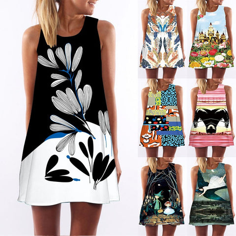 Women Floral Print Chiffon Dress Sleeveless Boho Short Beach Dress Sundress Shift Dresses