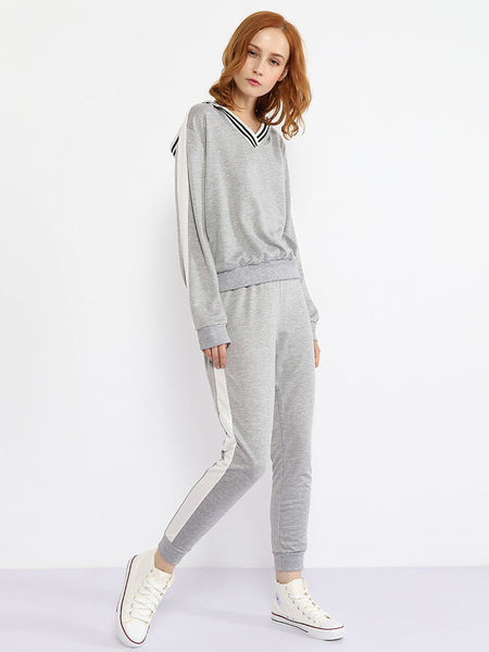 V Neck Contrast Trim Sweatshirt And Slit Pocket Plain Slim-leg Pant - Bychicstyle.com