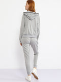 ByChicStyle V Neck Contrast Trim Sweatshirt And Slit Pocket Plain Slim-leg Pant - Bychicstyle.com