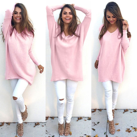 Womens V-Neck Loose Knitted Oversized Baggy Sweater Jumper Tops Dress Outwear
