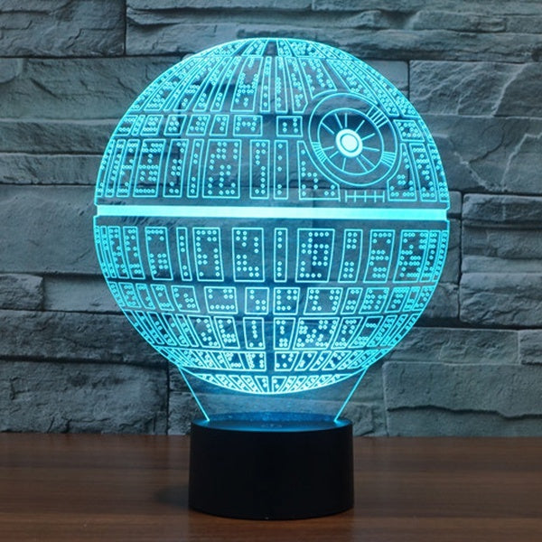 Creative 3D Star Wars Death Star Bedroom Night Touch 7 Color Change LED Desk Table Light Lamp
