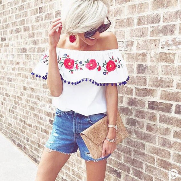 Casual Feminine Furball Embroidered Blouse Off Shoulder Ruffles Short Sleeves Loose Tops