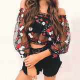 ByChicStyle Casual Womens Mesh Sheer Floral Embroidered Shirts See-through Tops Blouses