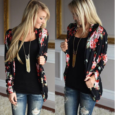 Women Basic Coats Loose Outerwear Tops Women Kimono Floral Print Long Sleeve Cardigan