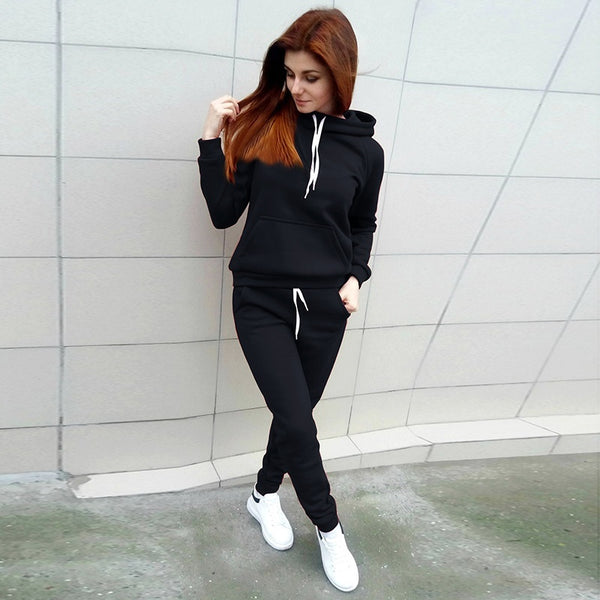 Fashion Autumn Women Tracksuits Long Sleeve Hooded Sweatshirts+ Long Pants Two Piece Set Sportsuit