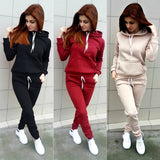 ByChicStyle Fashion Autumn Women Tracksuits Long Sleeve Hooded Sweatshirts+ Long Pants Two Piece Set Sportsuit