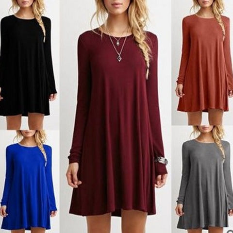 Casual new long sleeve loose thin solid color dress