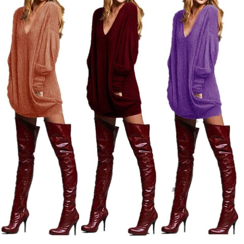 Casual Womans Fashion Fit Long Shirt Pocket Long Sleeve Casual V-neck T-shirt Skirt