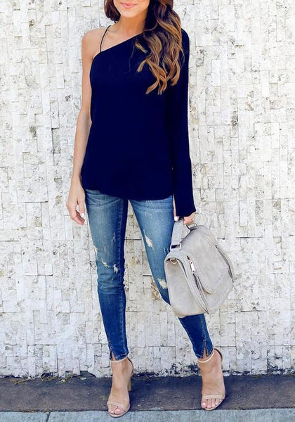 Dark Blue Spaghetti Strap Asymmetric Shoulder Lace-Up One-shoulder Flare Sleeve Blouse