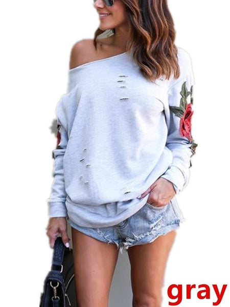 Women Rose Sweater Floral Sweatshirt Embroidered Long Sleeve Casual Pullover Loose Tops