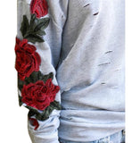 ByChicStyle Women Rose Sweater Floral Sweatshirt Embroidered Long Sleeve Casual Pullover Loose Tops
