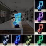 ByChicStyle Colorful Musical Note Shape 3D Visual Lights Touch Type LED Lamp Creative Present 3D Night Light
