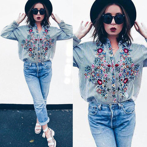 Casual Women Floral Embroidered Casual Blouse Autumn Long Sleeve Shirt Tops