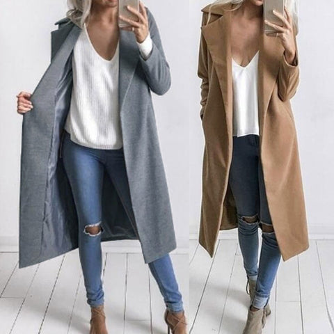 Women Winter Warm Lapel Long Coat Trench Parka Jacket Overcoat Outwear Damen Wasserfall