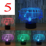 ByChicStyle Creative 3D USB Lamp LED 7 Colors Changing Table Acrylic Car Design Night Light with Touch Switch Bedroom Decor Accessories