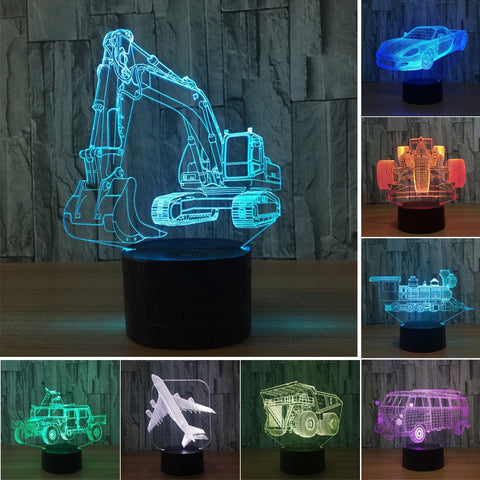 Creative 3D USB Lamp LED 7 Colors Changing Table Acrylic Car Design Night Light with Touch Switch Bedroom Decor Accessories