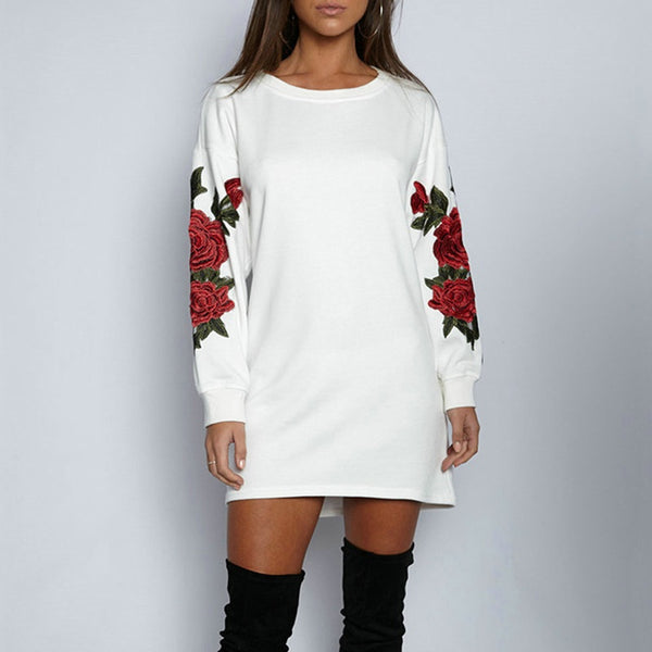 Sexy Women Bodycon Mini Short Dress Rose Embroidered Crew Neck Long Sweatshirt