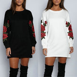 ByChicStyle Sexy Women Bodycon Mini Short Dress Rose Embroidered Crew Neck Long Sweatshirt