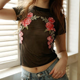 ByChicStyle Casual Women Flower Embroidered Transparent Mesh Sheer Crop Top T-Shirt Blouse Tee Tops