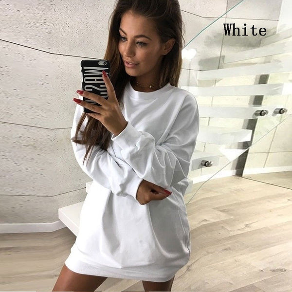 Spring Autumn Women Long Sleeved Sweatshirt Dress Ladies Casual O-neck Club Dress Long Pullovers