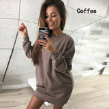 ByChicStyle Spring Autumn Women Long Sleeved Sweatshirt Dress Ladies Casual O-neck Club Dress Long Pullovers