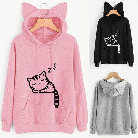 Casual New Cute Cat Ear Girls Hoodie Sweatshirt Hooded Coat Tops Long Sleeve Blouse