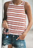 ByChicStyle Red-White Striped Round Neck Casual Vest