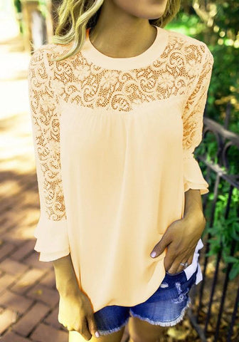 Apricot Patchwork Lace Cut Out Long Sleeve Casual Blouse