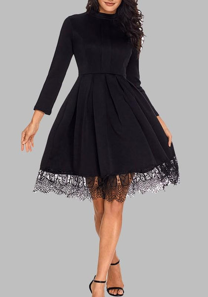 Black Patchwork Lace Pleated Flare Out Long Sleeve Elegant Party Midi Dress