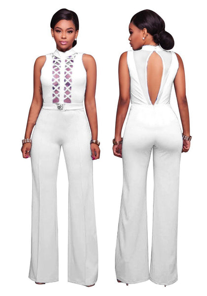 White Patchwork Grenadine Cut Out Belt Lace-up Wide Leg Long Jumpsuit