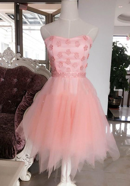 Pink Floral Embroidery Irregular Bandeau Bridesmaid Tutu Midi Dress