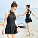 ByChicStyle Black Cascading Ruffle Double-deck One Piece Fashion Swimwear