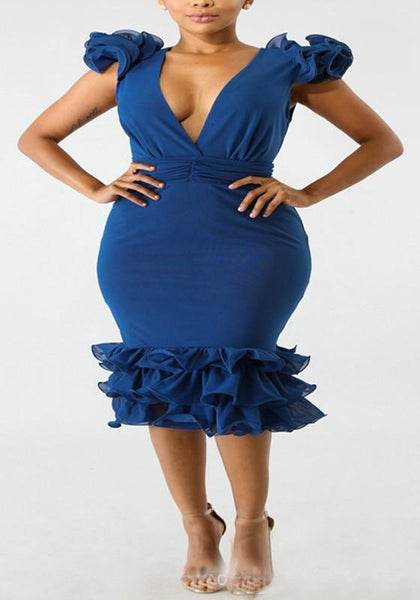 Blue Cascading Ruffle Cut Out Backless Deep V-neck Mermaid Bodycon Party Midi Dress