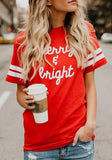 ByChicStyle Red Letter Print Round Neck Short Sleeve T-Shirt